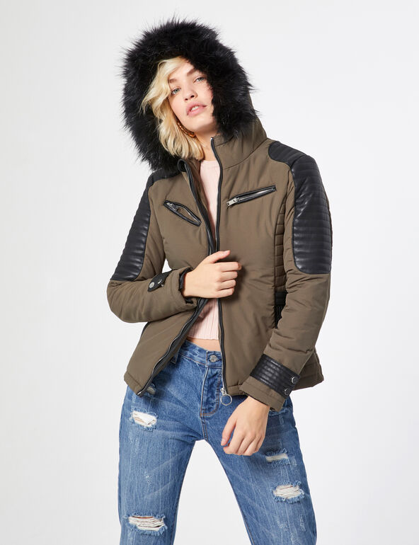 Parka with faux leather details
