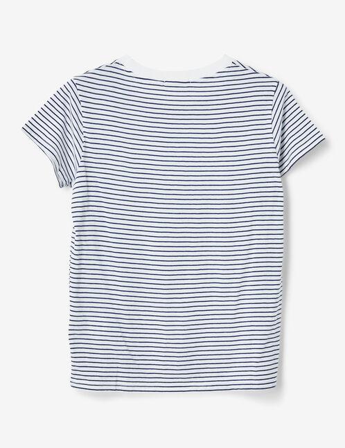 tee-shirt basic rayé blanc et bleu