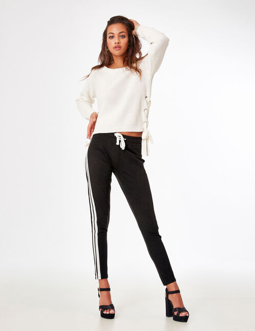 Black and white leggings with side stripe detail