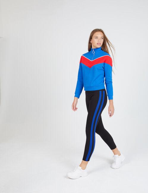 legging avec bandes côtés noir et bleu