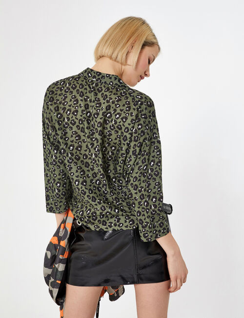 Khaki and black leopard print shirt