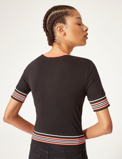 Black T-shirt with striped trim detail