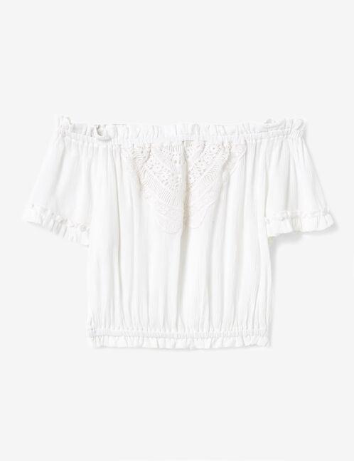 Cream blouse with macramé detail