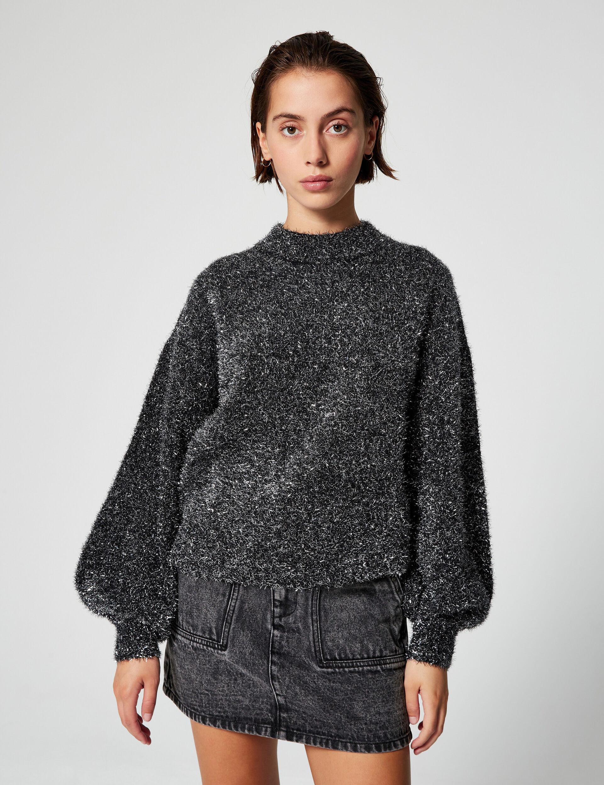 High-neck sequinned jumper