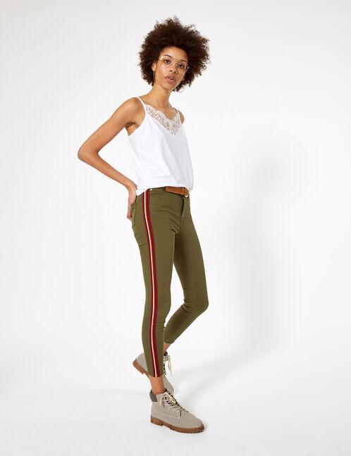 pantalon avec bandes côtés kaki