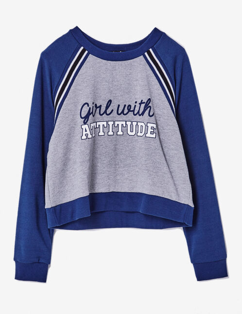 Grey marl and navy blue two-tone sweatshirt with text design detail