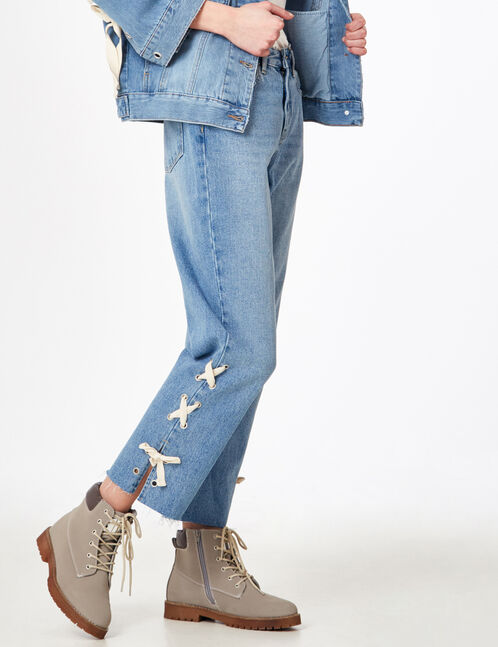 Light blue straight-leg jeans with lacing detail