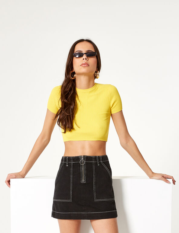 Black denim skirt with contrasting seam detail