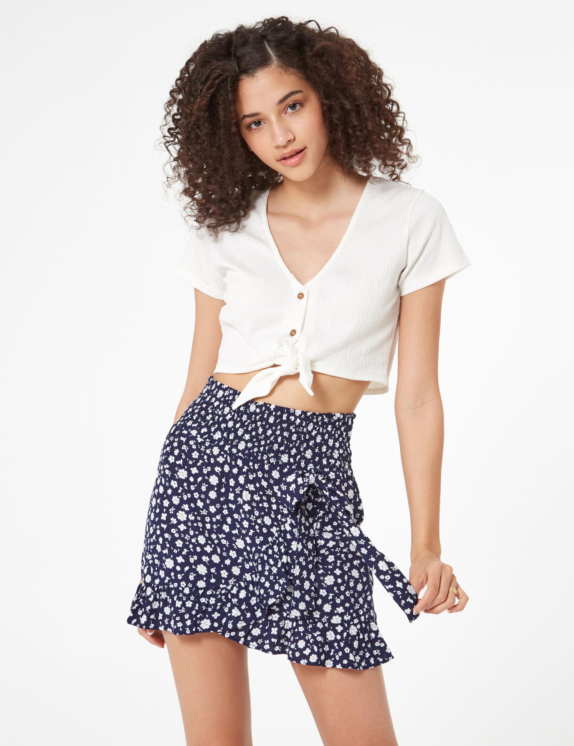 Floral frilled skirt