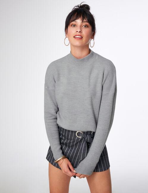 Grey marl cashmere-feel jumper