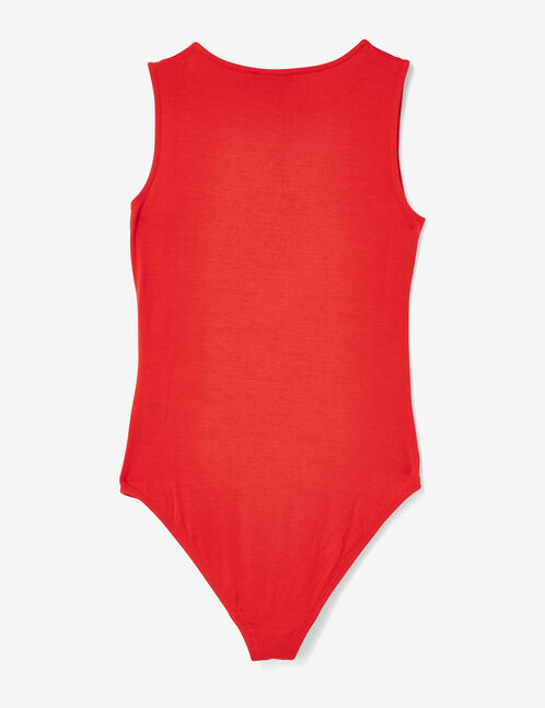 Red bodysuit with ring detail
