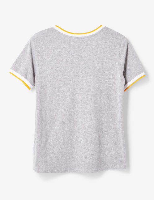 Grey marl and ochre T-shirt with text design detail
