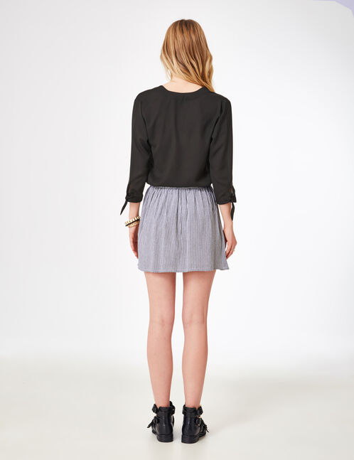 Grey and cream striped skirt