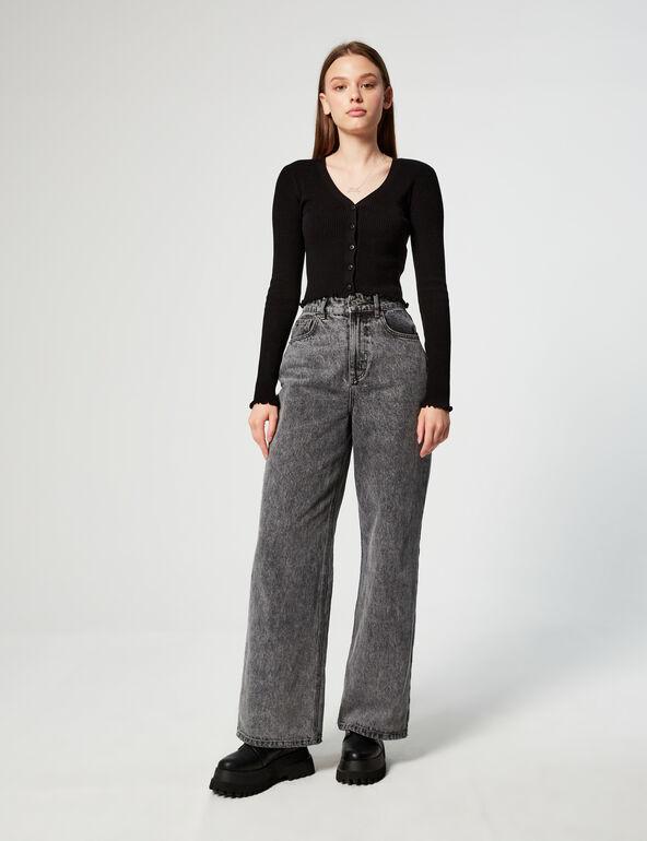 Buttoned rib-knit cardigan