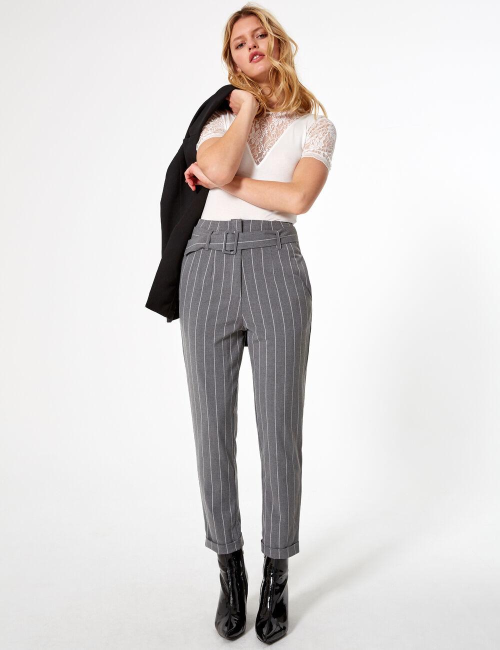 ccf2eda35a999 Pantalon rayé gris clair et blanc femme • Jennyfer