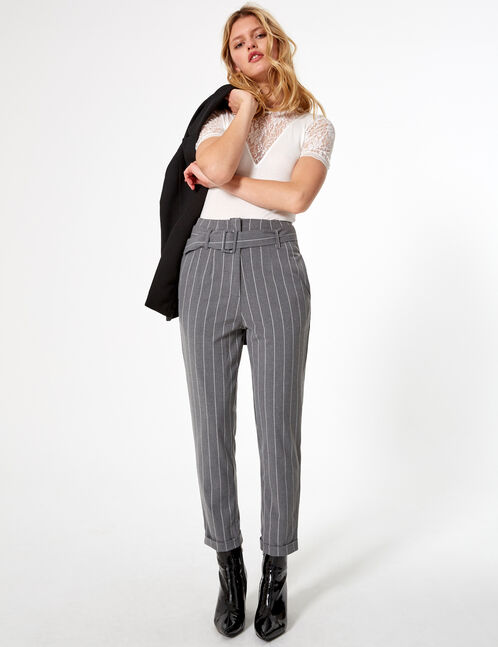 Pale grey and white striped trousers