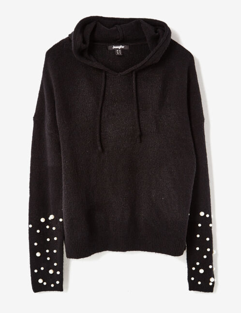 Black hoodie with beading detail
