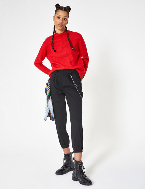 Black trousers with chain detail