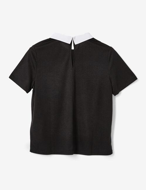 tee-shirt avec col blanc noir