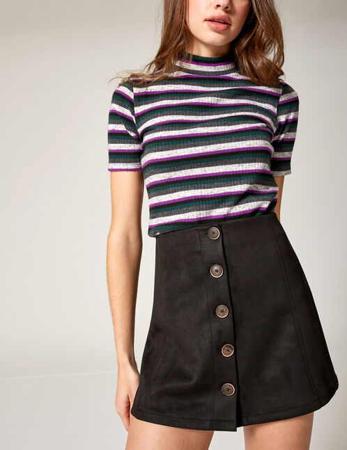 Black faux suede buttoned skirt