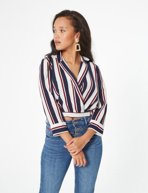 Striped wrap over shirt