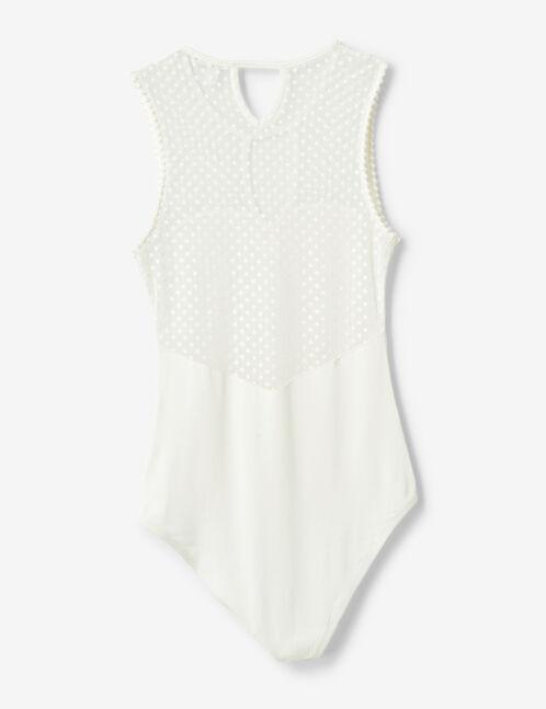 Cream Swiss dot bodysuit
