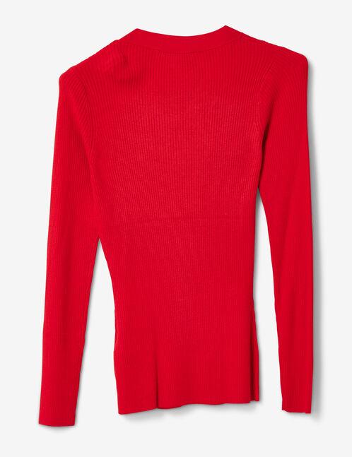 pull côtelé avec laçage rouge