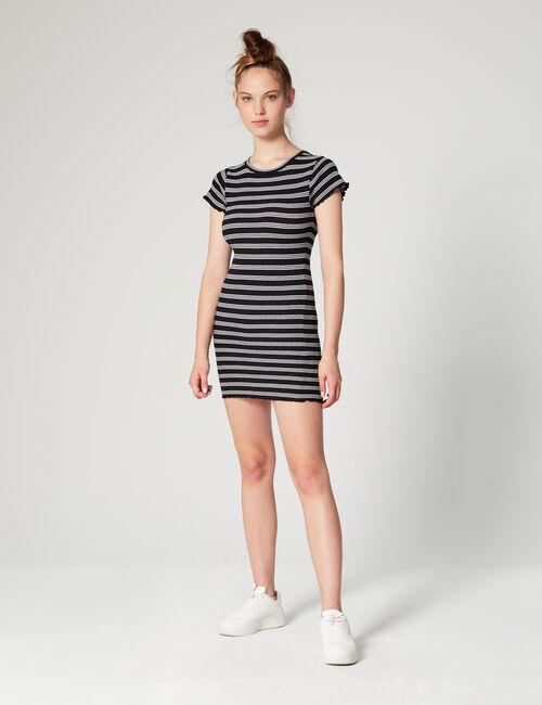 Striped textured dress