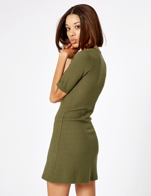 Khaki ribbed buttoned dress