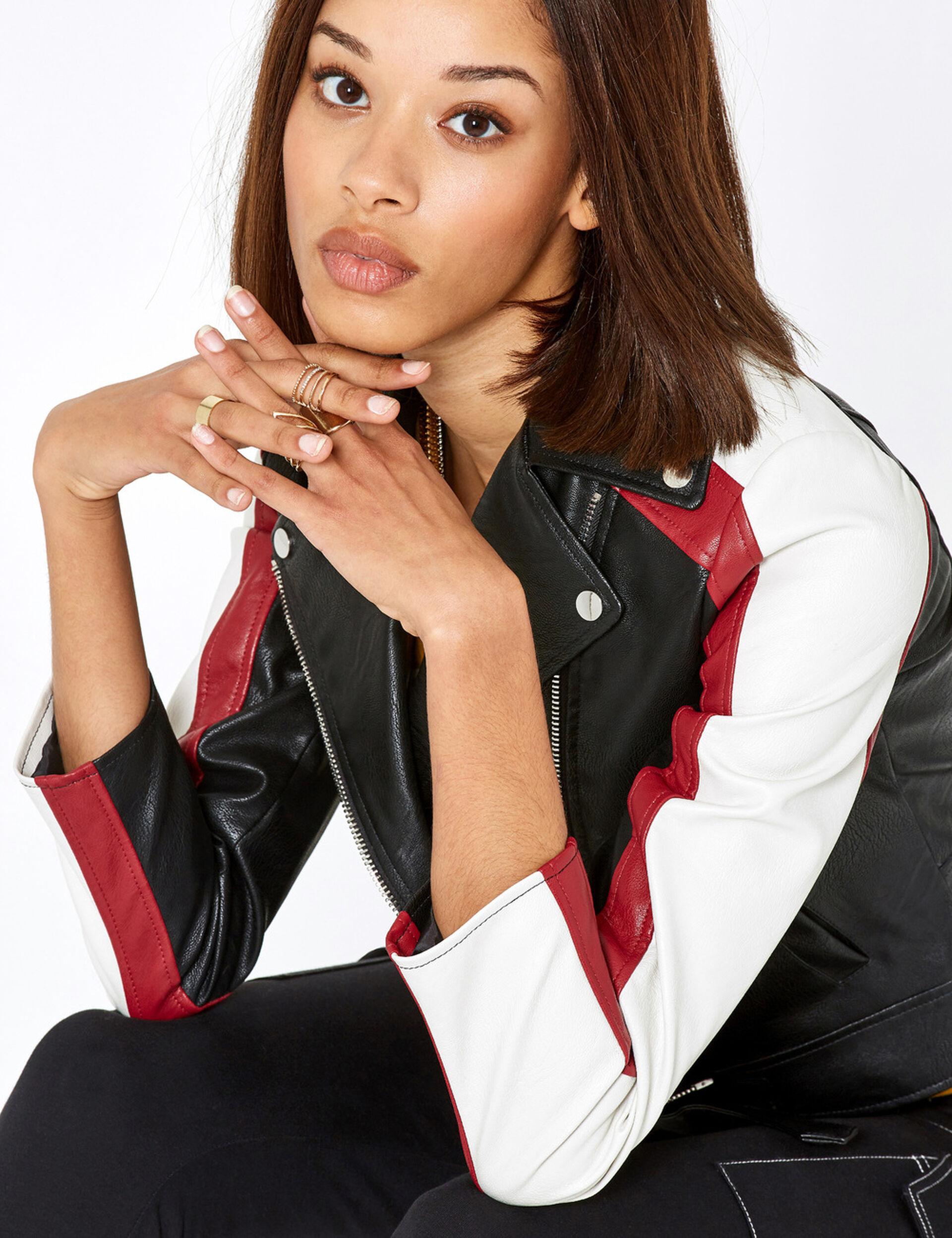 Black, burgundy and cream tricolour biker jacket