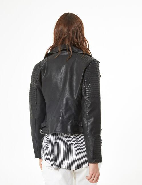 biker jacket with panels