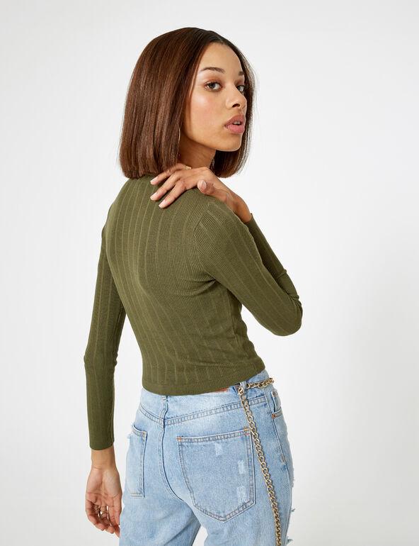 Cropped khaki buttoned cardigan