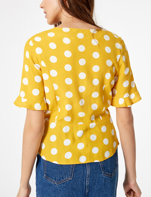 Ochre and cream polka dot blouse
