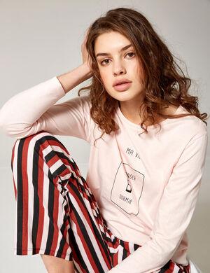 set pyjama long rose clair, bordeaux et noir