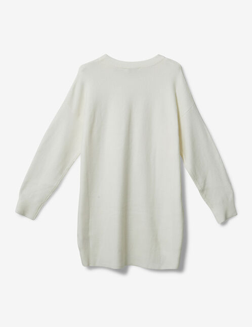 Long cream cashmere-feel jumper