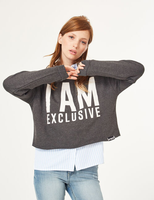 Charcoal grey marl cropped sweatshirt with text design detail