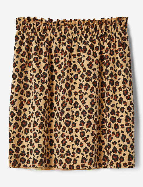 Beige and black leopard print skirt with ruched detail