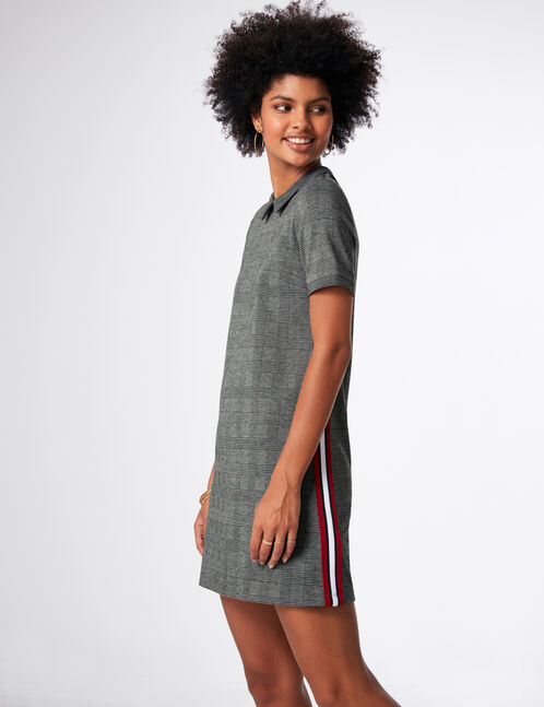 Black and grey dress with side trim detail