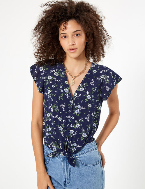 Navy blue tie-fastening floral blouse