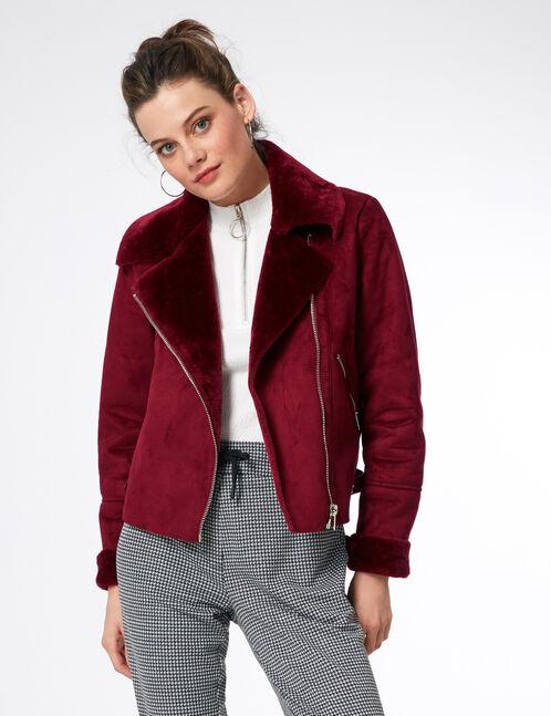 Burgundy faux suede biker jacket