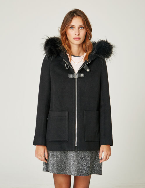Black coat with strap detail