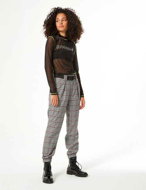 Houndstooth cargo trousers