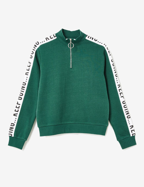 Green zip-up sweatshirt with text design detail