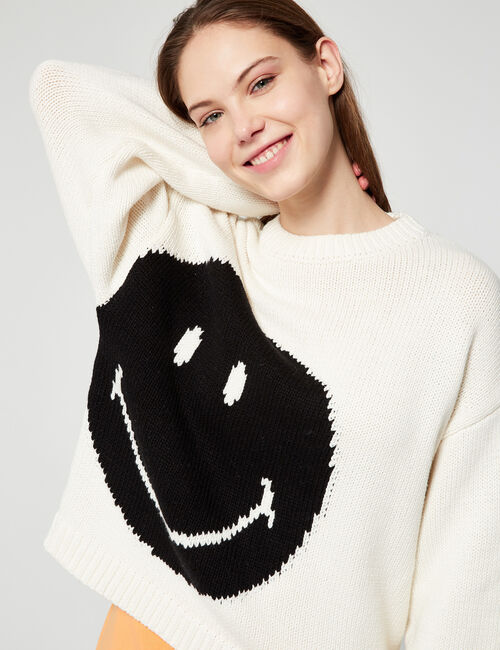 Pull maille tressée Smiley