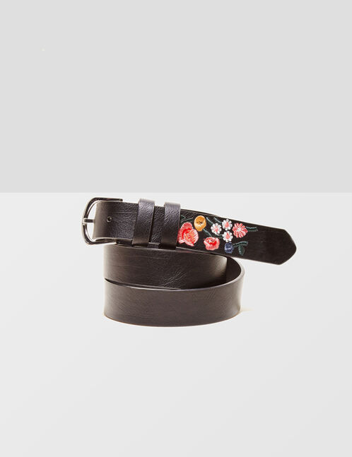 Black belt with embroidery detail