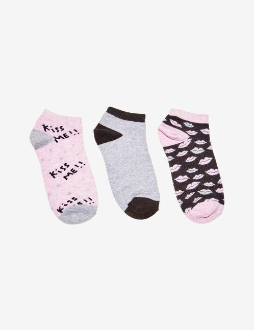 chaussettes fantaisies grises, rose clair et noires