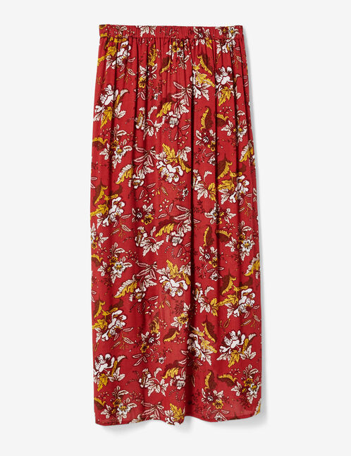 Burgundy floral skirt with button detail
