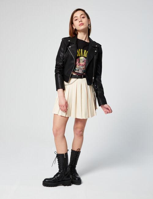 Pleated short skirt