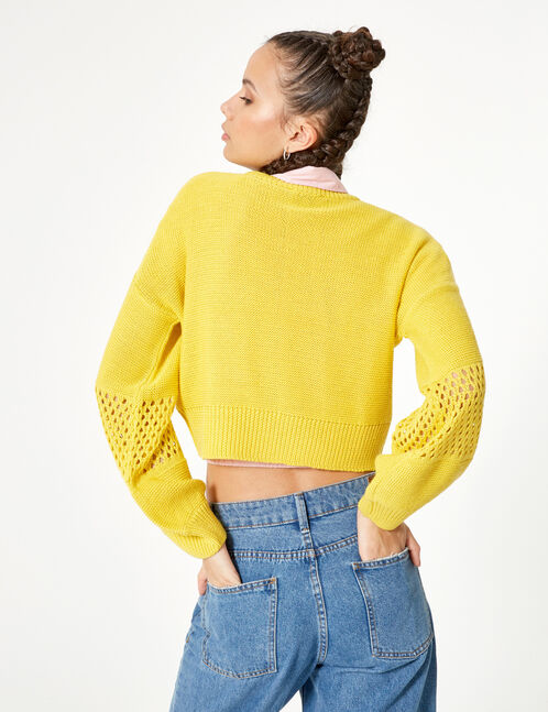 Cropped pale yellow openwork jumper