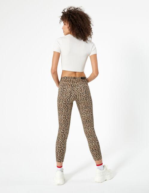 Black and beige leopard print skinny jeans